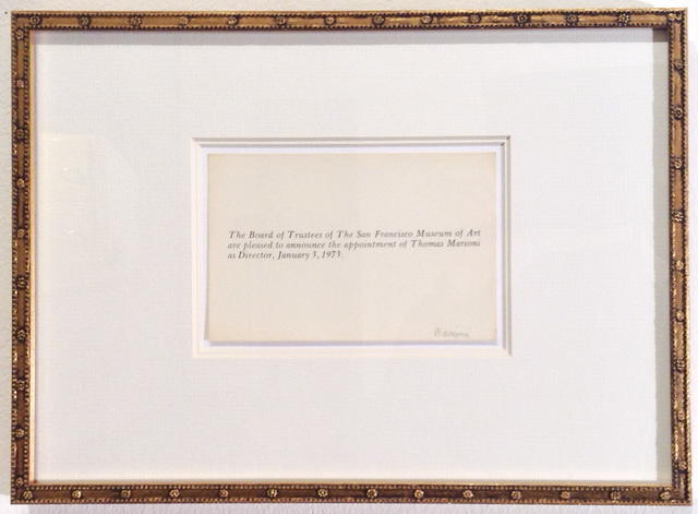 , 'Announcement,' 1973, Anglim Gilbert Gallery