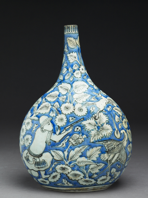 , 'Flask with figures, animals, and leaves,' 17th Century, Liang Yi Museum