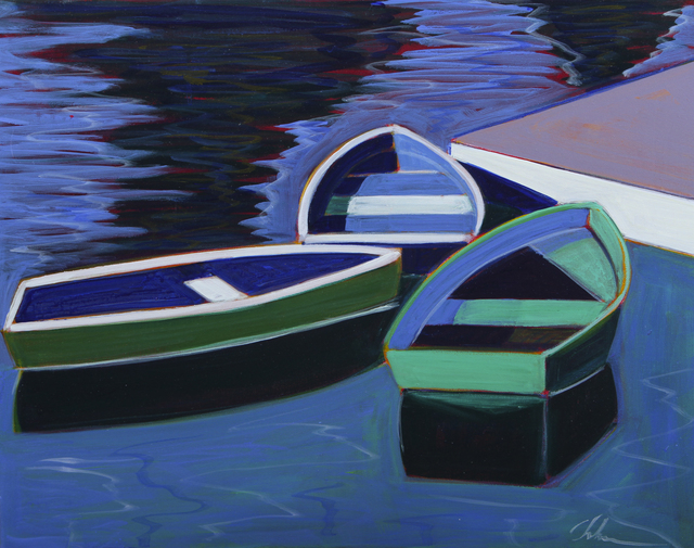 Melissa Chandon, 'Three Boats with Violet Dock', 2019, Painting, Acrylic on Canvas, Caldwell Snyder Gallery