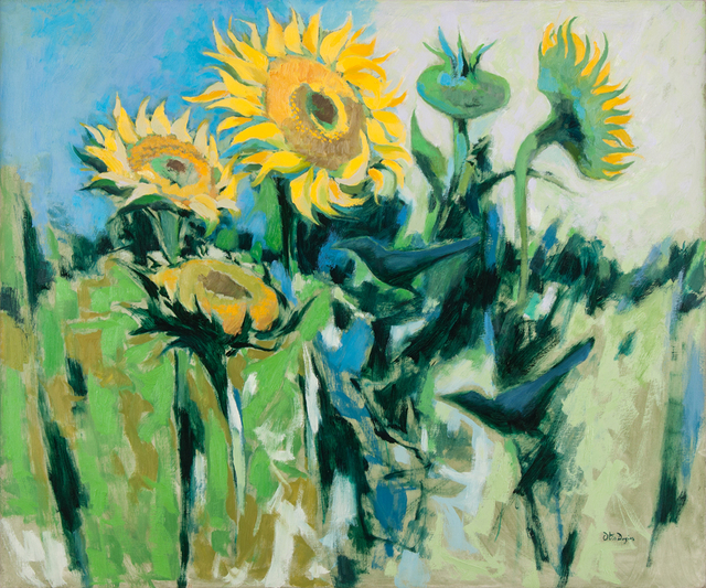 , 'Sunflowers and Crows,' 1970, Valley House Gallery & Sculpture Garden