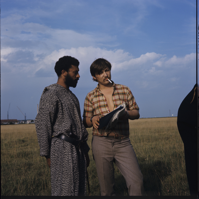 ", 'Rainer Werner Fassbinder and El Hedi Ben Salem on the set of ""The Merchant of Four Seasons"" ,' 1971, Martin-Gropius-Bau"