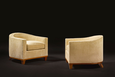 "Émile Jacques Ruhlmann, 'Pair of ""Crapaud"" Armchairs, model 10 AR and 266 NR,' circa 1925, Sotheby's: Important Design"