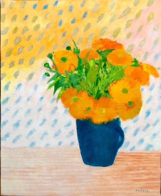 Guy Bardone, 'Soucis au Petit Pot Bleu, Floral Oil Painting Marigold Flower Bouquet in Vase', 20th Century, Lions Gallery
