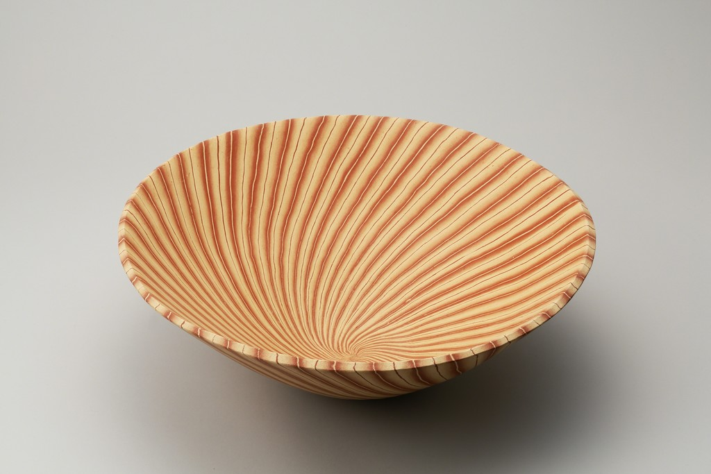 Mumyōi Neriage Large Bowl with Line Patterns, 2016; stoneware; h. 6 1/4 × dia. 17 3/8 in. (16 × 44 cm)