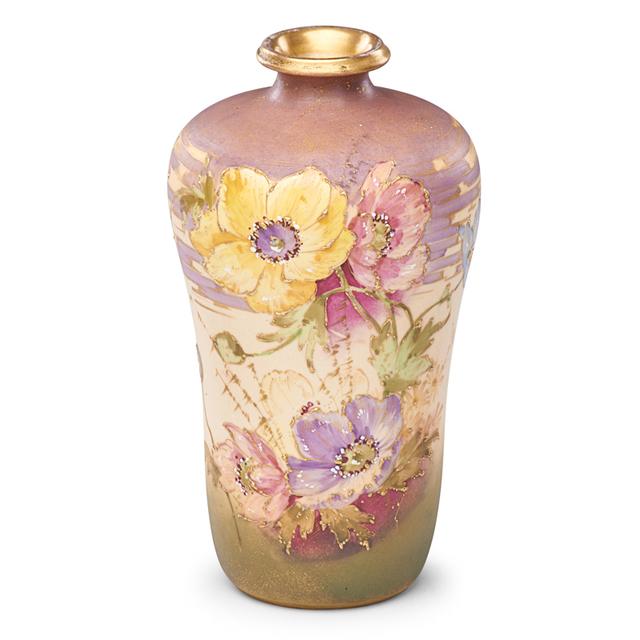 Paul Dachsel, 'Riessner, Stellmacher & Kessel, Amphora Vase With Poppies, Turn-Teplitz, Bohemia', 1900s, Rago/Wright