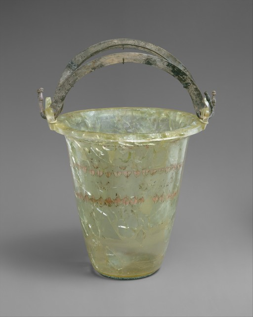 Unknown Greek, 'Glass situla (bucket) with silver handles', late 4th–early 3rd century B.C., The Metropolitan Museum of Art