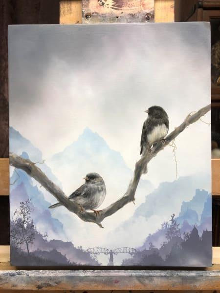 Brian Mashburn, 'Winter (Dark-Eyed Juncos)', 2020, Painting, Oil on panel, Haven Gallery