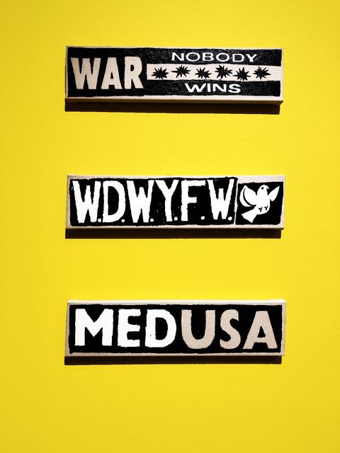 ", '""MEDUSA"", ""WAR Nobody Wins"", ""W.W.D something"",' 2019, New Image Art"