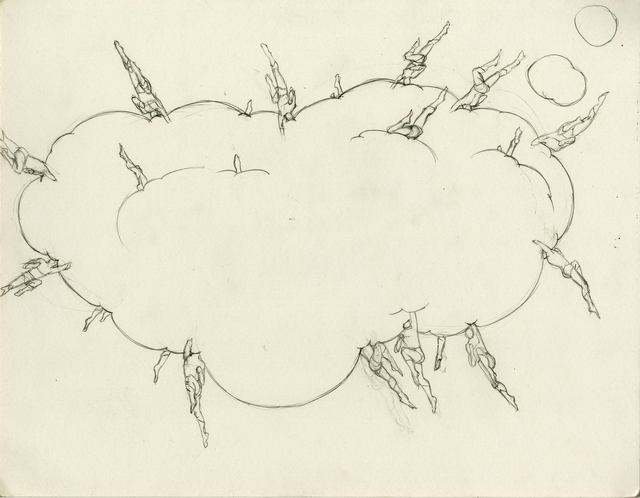 ", 'Dream Object, (""I was working on these large drawings of comic esthetics with headless superheroes embedded..."") (thought bubble cloud),' 2012, Simon Lee Gallery"