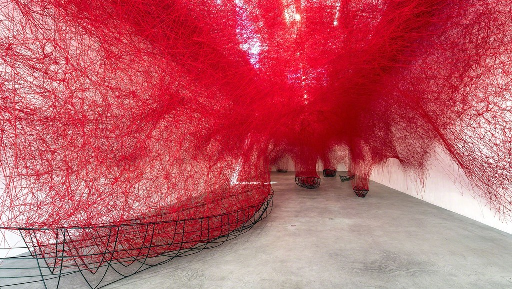 Chiharu Shiota, Uncertain Journey, 2016, Installation View Courtesy the artist and Blain|Southern, Photo: Christian Glaeser