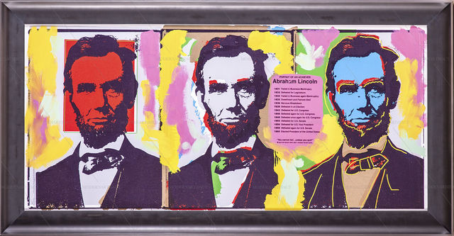 Steve Kaufman, 'Steve Kaufman Original Oil Painting Abraham Abe Lincoln Large Three Faces', 1994, Modern Artifact