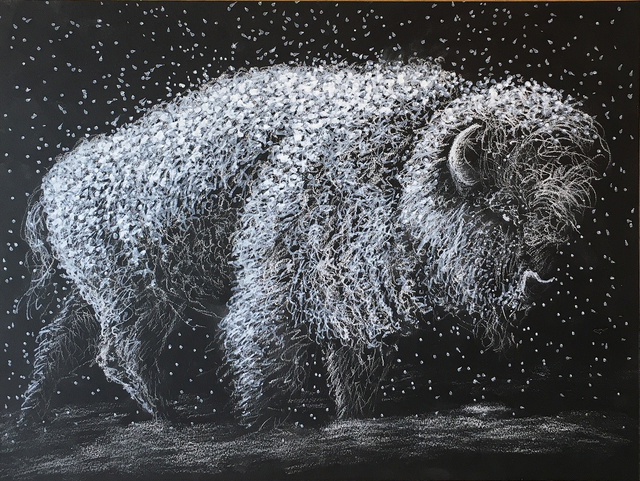 , 'Bison in Snowstorm,' 2019, Emerge Gallery NY