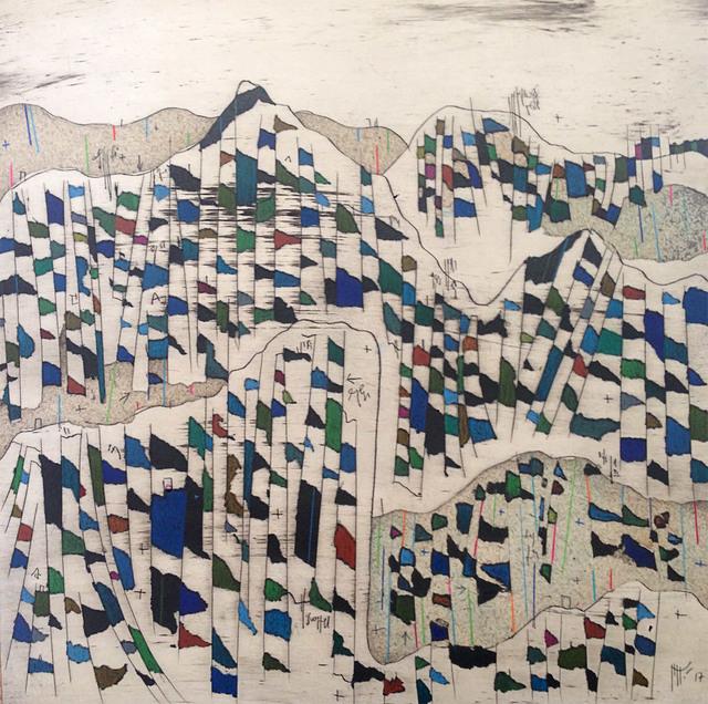 Manu vb Tintoré, 'Els colors d'aquella terra oblidada nº8', 2017, Drawing, Collage or other Work on Paper, Enamel and color pencil on engraved paper, N2 Galería