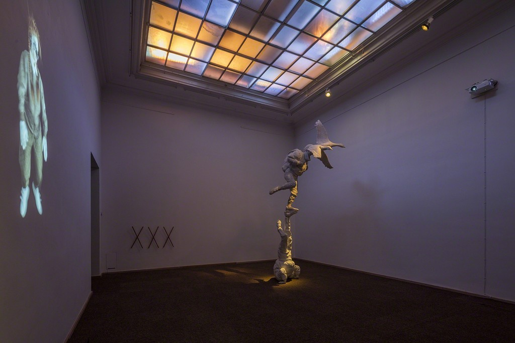 "Tori Wrånes, ""Traveler"", ""Ældgammel Baby 5"", ""XXX"", 2017. Installation view: 'Ældgammel Baby', Kunsthal Charlottenborg, 2017. Photo by Anders Sune Berg."