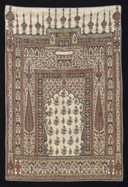 , 'Summer Carpet (Dastarkahana)  Prayer Cloth with Architectural and Floral Motifs,' late 18th or early 19th century, Newark Museum