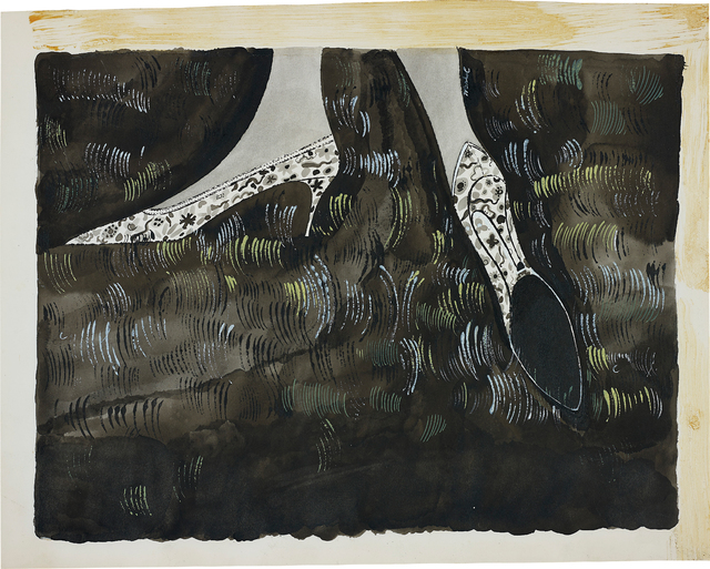 Andy Warhol, 'Shoes', 1948, Painting, Ink and acrylic on cardboard, Phillips