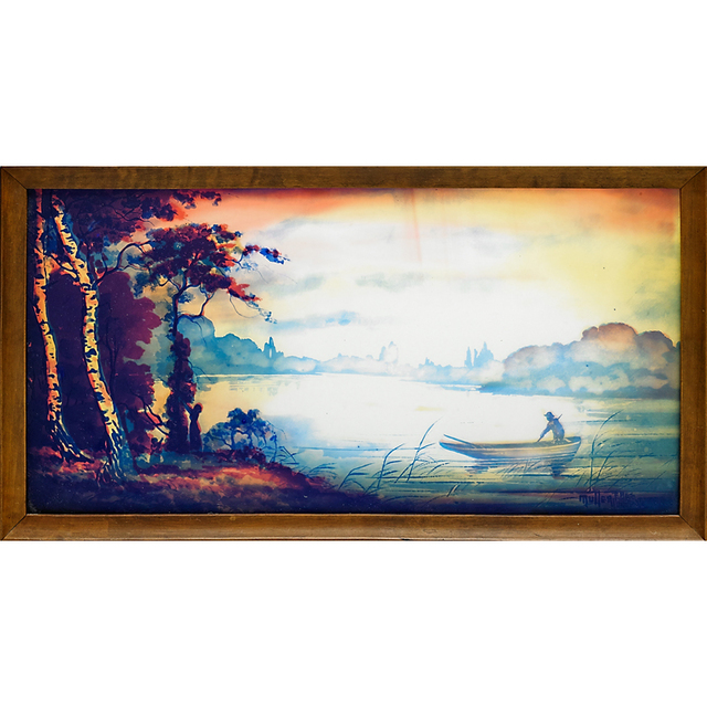Muller Freres, 'Plaque With Fishing Scene (Framed), France', Early 20th C., Rago/Wright