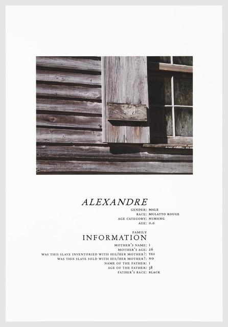 , 'ALEXANDRE,' 2016, Arnika Dawkins Gallery
