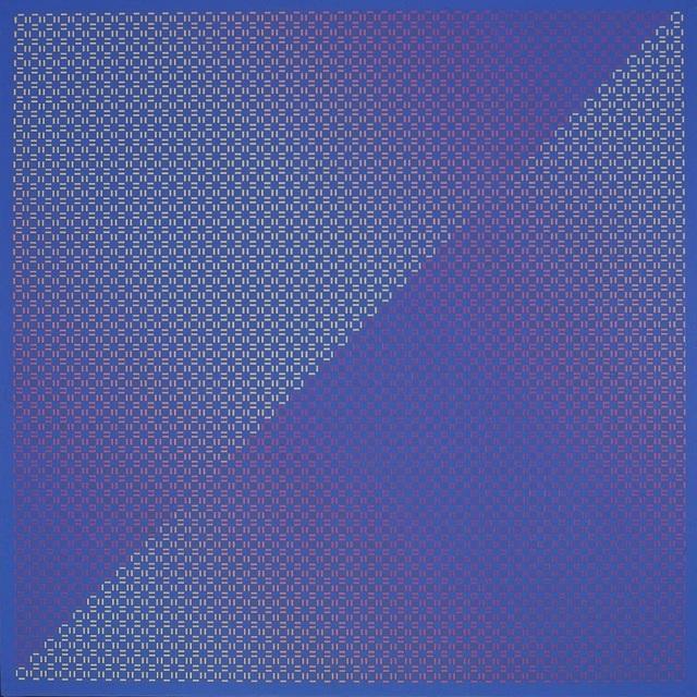 Julian Stanczak, 'Centered Duality Blue II', 1981-82, Painting, Acrylic on canvas, Mitchell-Innes & Nash