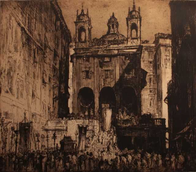 , 'Procession at the Church of Saint Peter in Banchi in Genoa,' 1913, Artur Ramon Art