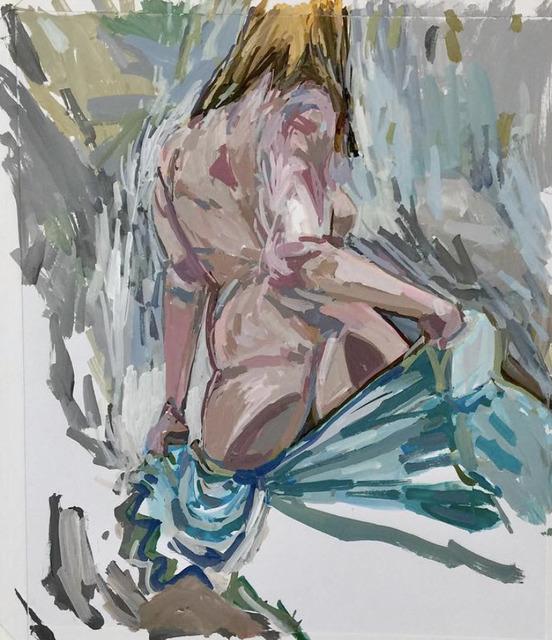 , 'E. K. with Aqua Fabric  - framed ,' 2018, Andra Norris Gallery