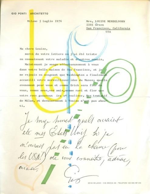 , 'Handwritten letter to Louise Mendelsohn,' 5 July 1976, Galleria Rossella Colombari