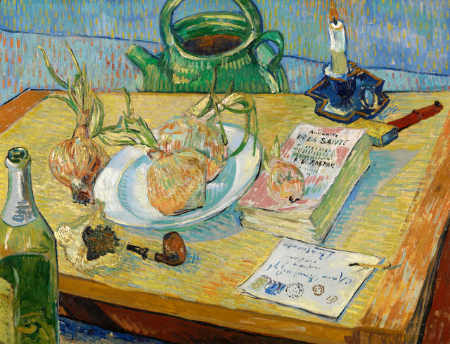 Vincent van Gogh, 'Still life with a plate of onions', early January 1889, Painting, Oil on canvas, Kröller-Müller Museum