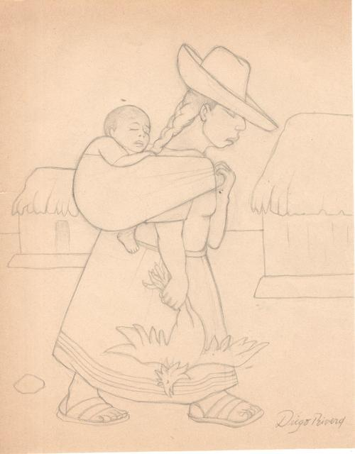 Diego Rivera, 'Vendedora de pollo', Drawing, Collage or other Work on Paper, Pencil on paper, Galerie AM PARK