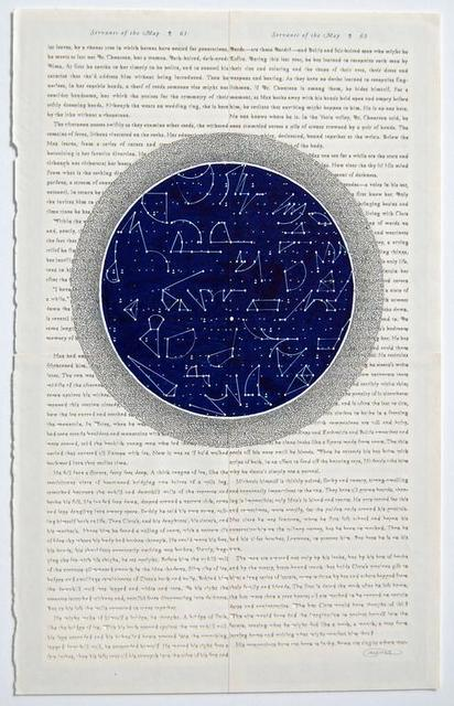Youdhishtir Maharjan, 'Servants of the Map', 2017, Drawing, Collage or other Work on Paper, Acrylic and cutout text collage on reclaimed bookpages, Seraphin Gallery