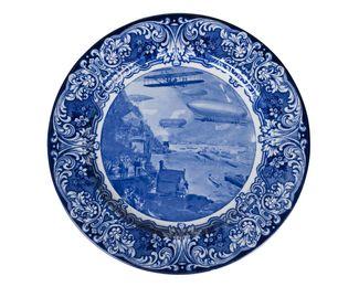 "a blue and white 'The ""Aero"" Plate', Hudson-Fulton Celebration, September & October 1909, Higgins & Seiter, New York"