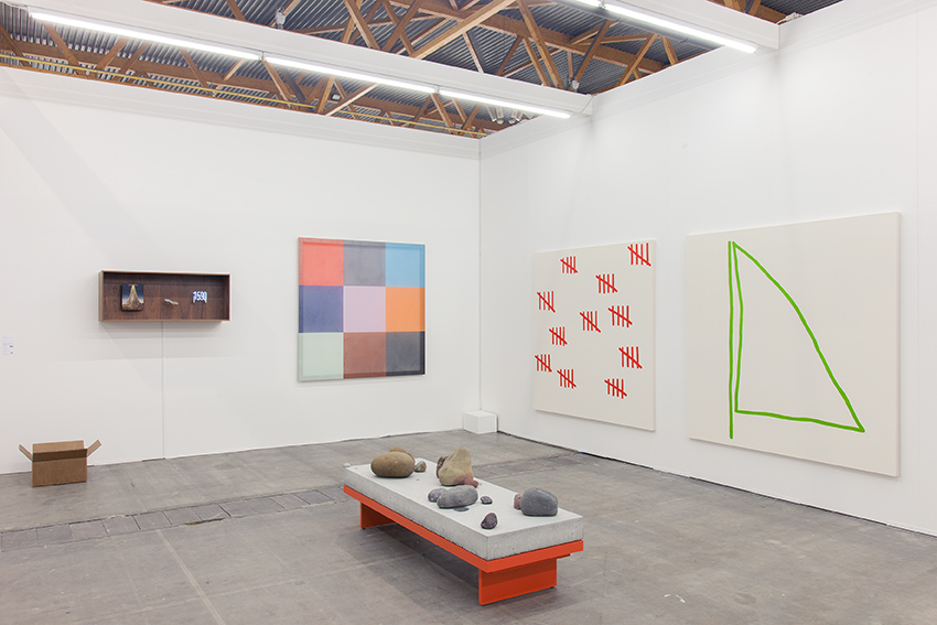 Exhibition view Art Brussels 2015. Galerie Valentin, Paris. A solo show by Jean-Baptiste Bernadet and a group show with: Cécile Bart, Dominique Ghesquière, Stephen Felton, Laurent Grasso, David Renggli, Graham Wilson. © Hugard & Vanoverschelde / Courtesy of the artists and Valentin, Paris.