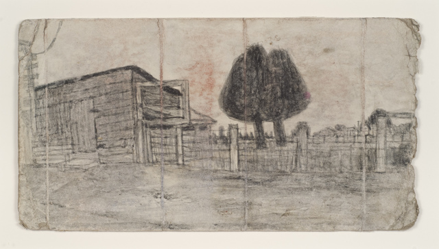 , 'Untitled (Shed and Fence with Two Black Trees),' n.d., Adams and Ollman