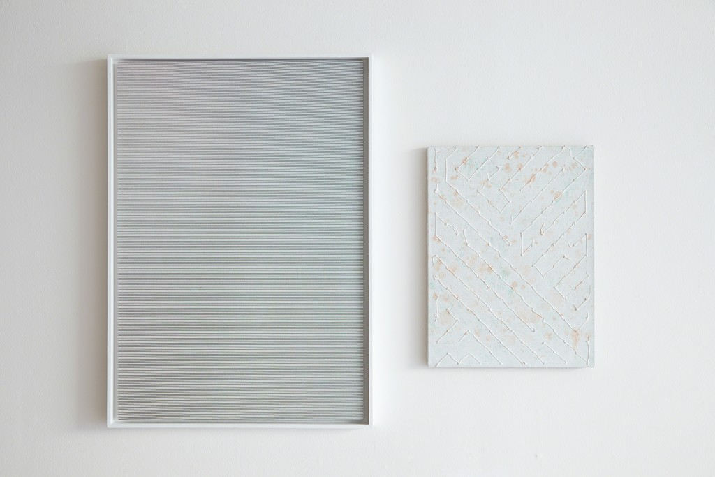 Anna Hughes: Untitled (Fade), 2016 [left]; Codex (Sewn, Painted), 2016. | Image Courtesy of Ione & Mann | Exhibition Photograpy: Matt Spour | Artwork copyright: Anna Hughes | All Rights Reserved.