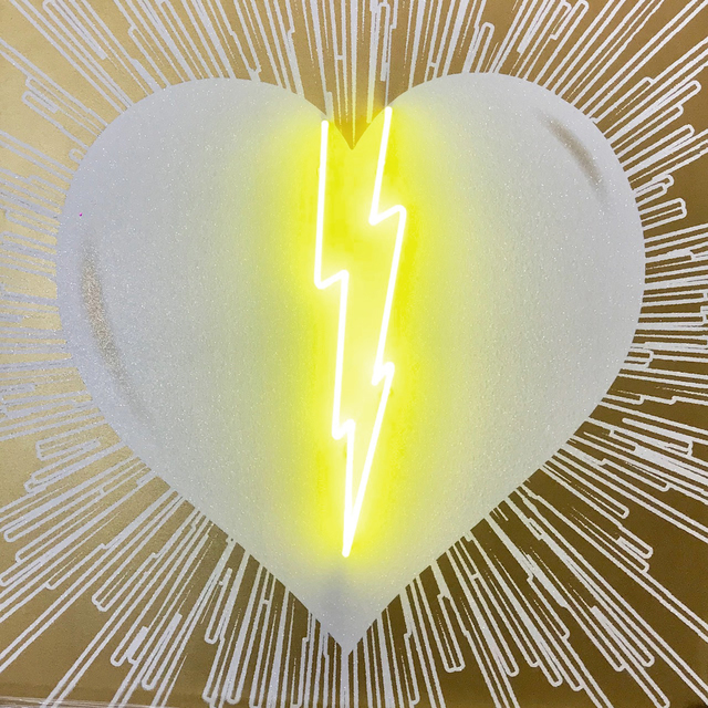 Rubem Robierb, 'Lightning Heart (White on Gold with Yellow Neon)', 2018, Taglialatella Galleries