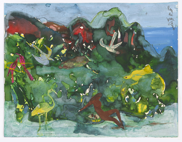 Romare Bearden, 'Caribbean Song', ca. 1980, Drawing, Collage or other Work on Paper, Watercolor and collage on paper, Dolan/Maxwell