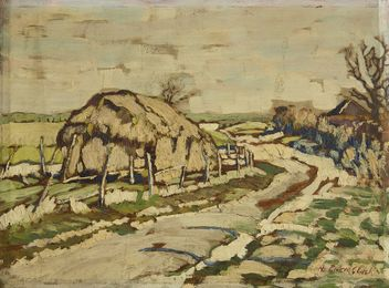 Haystacks by a country lane (recto), Trees by a roadside (verso)