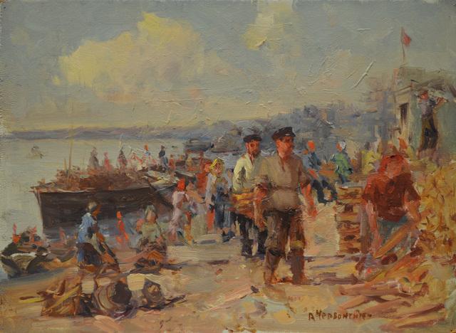Aleksandr Nikiforovich Chervonenko, 'Unloading the boats', 1952, Surikov Foundation