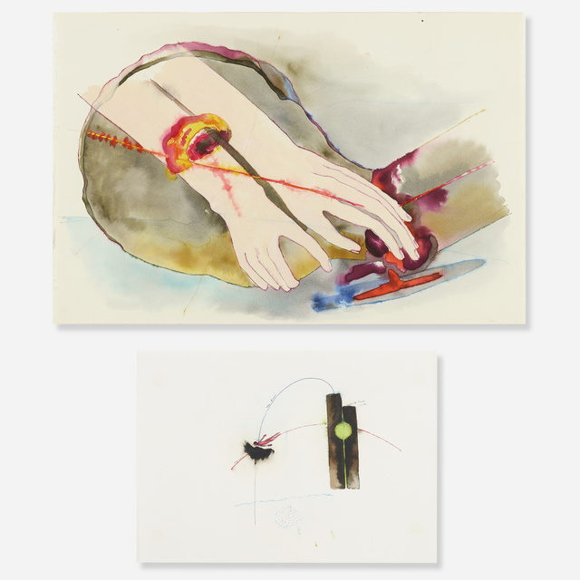 Katy Schimert, 'Untitled (two works)', Drawing, Collage or other Work on Paper, Watercolor, ink and plastilena on paper, Rago/Wright