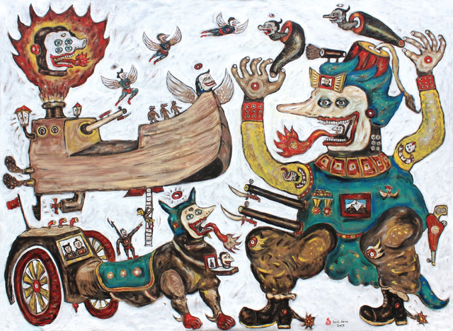 Heri Dono, 'The Journey of the ship's Odyssey', 2018, Painting, Acrylic on canvas, The Columns Gallery