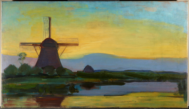 , 'Oostzijdse Mill with Extended Blue, Yellow and Purple Sky,' 1907-08, Turner Contemporary