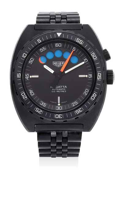 Heuer, 'A fine PVD-coated stainless steel regatta chronograph wristwatch with bracelet', Circa 1983, Phillips