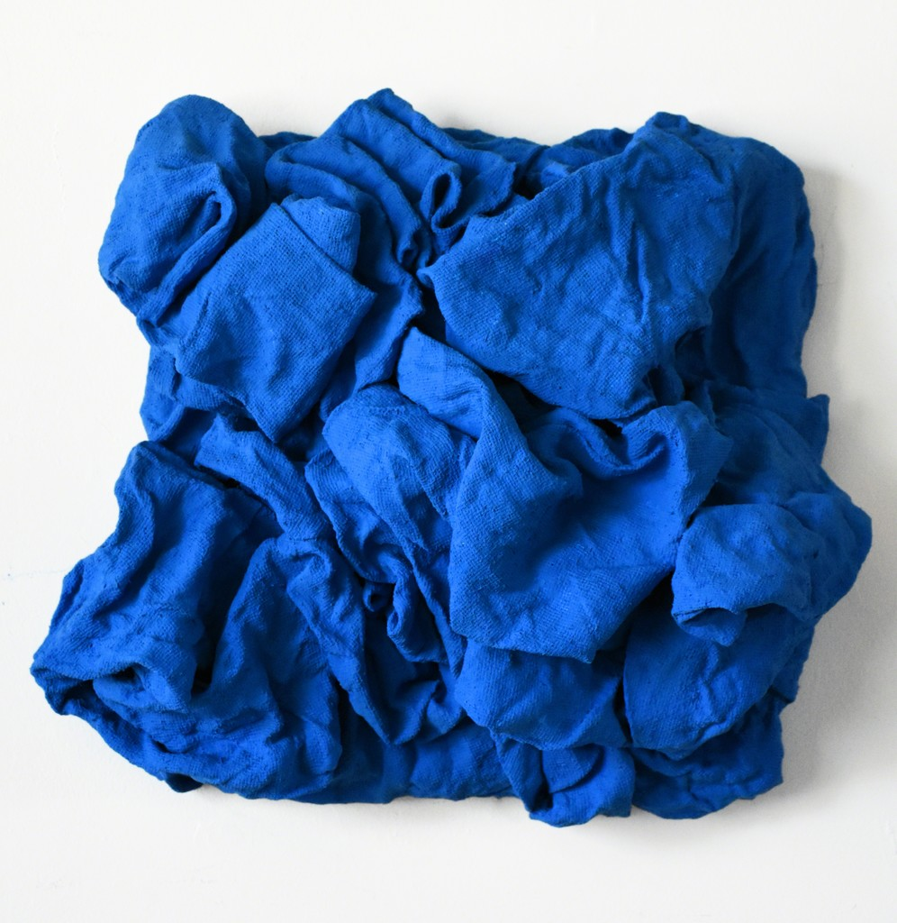 "CHLOE HEDDEN - Electric blue folds - Paint on burlap on wood - 20"" x 20"" x 8"""