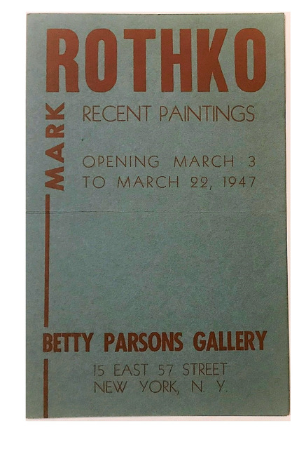 "Mark Rothko, ''ROTHKO"", Betty Parsons Gallery NYC, 1947, Exhibition Announcement', 1947, VINCE fine arts/ephemera"