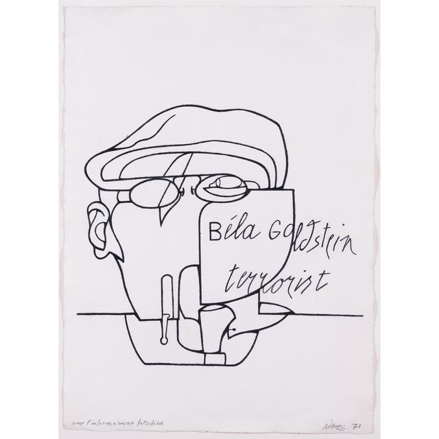 Valerio Adami, 'Come l'informazione falsifica, Béla Goldstein terrorist', 1971, PIASA
