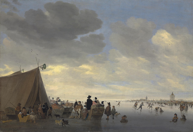 Salomon van Ruysdael, 'Skaters on the frozen river Lek, the town of Vianen beyond', 1653, Painting, Oil on canvas, Christie's Old Masters