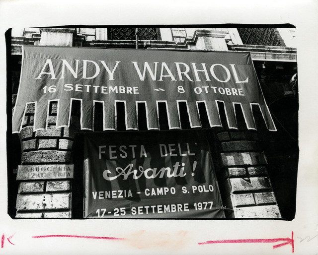 , 'Andy Warhol, Photograph of His Exhibition Banner, Venice, Italy, 1985,' 1985, Hedges Projects