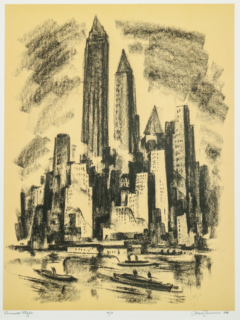 Mark Freeman, 'Concrete Cliffs, alternatively titled Manhattan Cliffs', 1936, Print, Lithograph in yellow and black on paper, Skinner