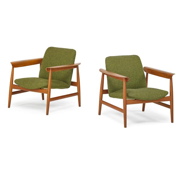 Finn Juhl, 'Pair Of Lounge Chairs, Denmark', 1950s, Rago/Wright