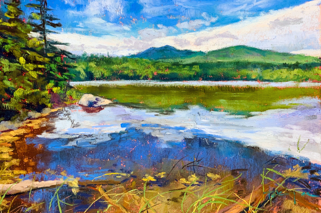 Takeyce Walter, 'Day 17: Reflections on a Pond ', February 2020, Painting, Pastels, Keene Arts