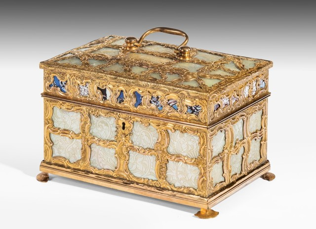 , 'George III 'Aventurine' and Mother of Pearl Ormolu Tea Caddy Attributed to James Cox (c.1723–1800): Goldsmith and Entrepreneur,' ca. 1770, Thomas Coulborn & Sons